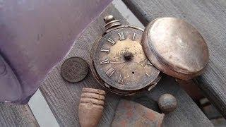 Metal Detecting a Mining Camp Finds HUGE GOLD Pocket Watch!